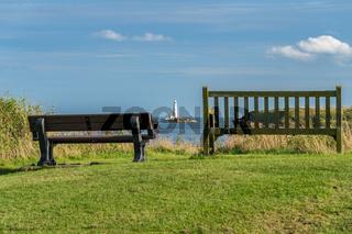 North Sea coast in Seaton Sluice, England, UK