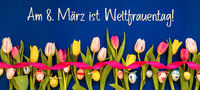 Banner With Colorful Tulip, Weltfrauentag Means Women Day, Easter Egg