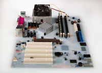 Mainboard card computer flooded by white colored water