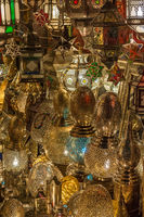 Traditional Moroccan lantern in antique shop, Marrakesh, Morocco