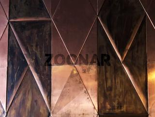 Background of metal geometric wall