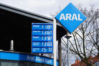 ARAL gas station in Germany with pertol prices on display