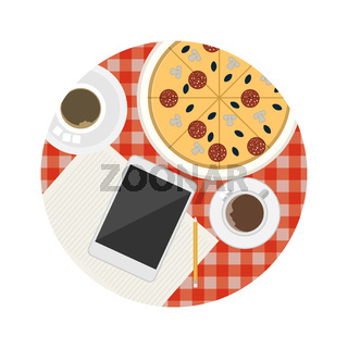 Flat icon for business coffee break table