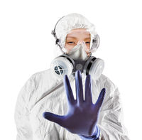 Chinese Woman Wearing Hazmat Suit, Protective Gas Mask and Goggles Isolated On White