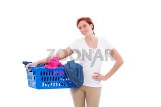 junge frau mit wäsche