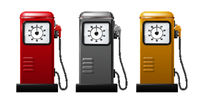 Set of bright Gas station pump icon. Realistic Vector illustration