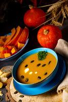 delicious creamy pumpkin soup with coconut milk