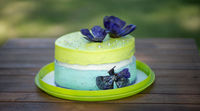 Classical mint bescuit cake with flowers