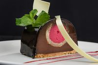 Delicious chocolate cake closeup