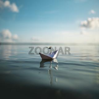 Freiheit - Papierschiff auf dem Meer
