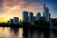 Skyline of Frankfurt at the Main river during sunset