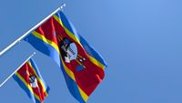 3D rendering of the national flag of Swaziland waving in the wind