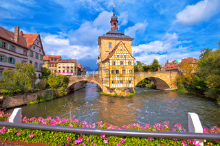 Bamberg. Scenic view of Old Town Hall of Bamberg (Altes Rathaus) with two bridges over the Regnitz river,