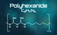 Chemical formula of Polyhexanide on a futuristic background