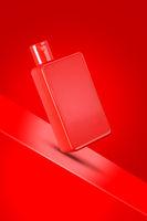 Red Colored Sanitizer / Shampoo / Shower Gel Bottle Mockup on Red Background