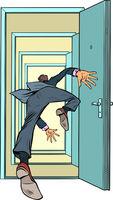 A male businessman falls through the door