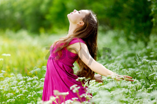 Woman feel natural freedom