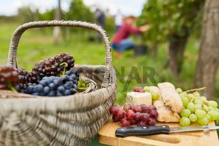 Picknickkorb mit roten und grünen Weintrauben