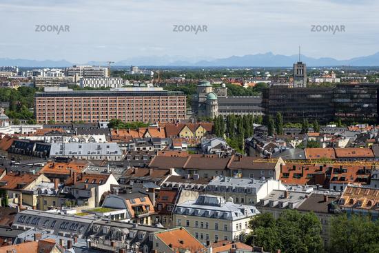 Aussicht vom Kirchturm St. Peter Richtung Bayerische Volkssternwarte - München