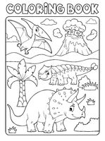 Coloring book dinosaur subject image 6