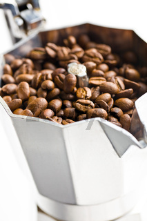 coffee beans in coffee maker
