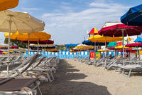 Varazze beach and its colored sun umbrellas