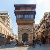 Moez Street with Sabil-Kuttab of Katkhuda historic building, Cairo, Egypt