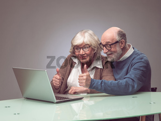 Senior couple using laptop together