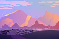 Dawn in the mountains, pink tones.