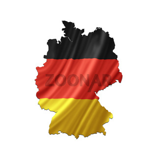 Map of Germany with waving flag