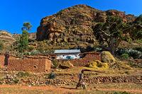 Traditioneller Bauernhof in den Gheralta Bergen, bei Hawzien, Tigray, Äthiopien