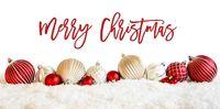 Christmas Ball Ornament, Calligraphy Merry Christmas, Snow