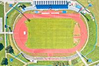 Soccer field green terrain aerial view