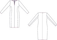 Technical sketch of casual long sleeved dress. Fashion template.