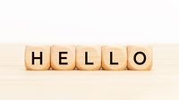 Hello word in wooden blocks on table