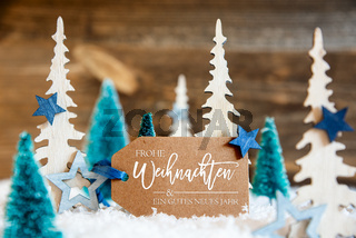 Christmas Trees, Snow, Wooden Background, Gutes Neues Means Happy New Year