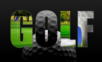 Golfing collage concept