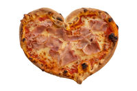 Heart shape ham pizza for Valentines Day