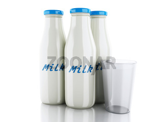 3d illustration. Milk bottles and glass on white background