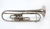 silver trumpet isolated on a white background. Musical instrument