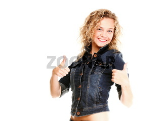 Beautiful young woman blonde in jeans isolated