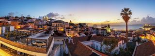 Lisbon Portugal sunrise panorama city skyline at Lisbon Alfama district