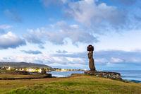 Easter Island, Moais Tahai Archaeological Complex, Rapa Nui National Park, Chile.