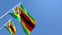 3D rendering of the national flag of Zimbabwe waving in the wind