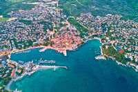 Idyllic Adriatic island town of Krk aerial evening view