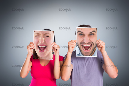 Composite image of cheering man looking at camera