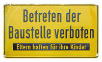 German sign isolated over white. Trespassing forbidden.