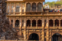 Galta Temple in Monkey Temple complex, detailed facade view, India, Jaipur