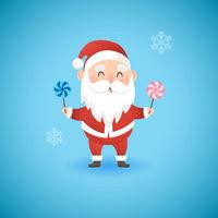 Christmas funny Santa Claus holding lollipops, vector illustration.