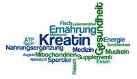 Word Cloud on a white background - Creatine - Kreatin (German)